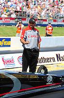 May 6, 2012; Commerce, GA, USA: NHRA crew member for top fuel dragster driver Steve Torrence during the Southern Nationals at Atlanta Dragway. Mandatory Credit: Mark J. Rebilas-