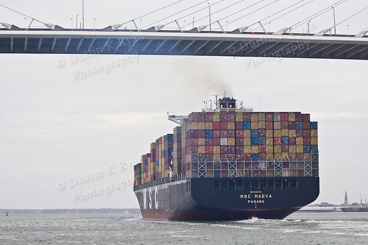Container Ship MSC Maeva on the Charleston Harbor under the Ravenel Bridge cooper river