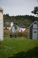 Monhegan Island, a small artist and fishing community 10 miles off the coast of Maine.   The island is only accessible by boat and there are no cars or paved roads.