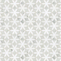Fiona, a natural stone waterjet mosaic shown in Cararra and polished Thassos, is part of the Silk Road Collection by Sara Baldwin for New Ravenna Mosaics. <br />