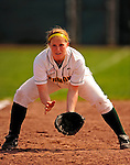 25 April 2009: University of Vermont Catamount third baseman Tasha Manning, a Freshman from Ellsworth, ME, in action against the Boston University Terriers at Archie Post Field in Burlington, Vermont. Sadly, the Catamounts are playing their last season of softball, as the program has been marked for elimination due to budgetary constraints at the University. Mandatory Photo Credit: Ed Wolfstein Photo