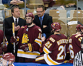 Scott Sandelin (Duluth - Head Coach), Joe Basaraba (Duluth - 18), Jason Herter (Duluth - Assistant Coach)], Caleb Herbert (Duluth - 21) - The Boston College Eagles defeated the University of Minnesota Duluth Bulldogs 4-0 to win the NCAA Northeast Regional on Sunday, March 25, 2012, at the DCU Center in Worcester, Massachusetts.