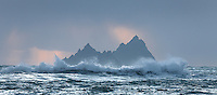 Skellig Islands during storm with big waves, County Kerry, Ireland | skm0021
