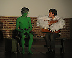 "Dillon Courson (left) is the Jolly Green Giant and Jared Davis is a stork as they perform in the 10 minute play ""Flying Solo"" during the Yoknapatawpha Arts Council's ""Art For Everyone"" fundraiser in Oxford, Miss. on Tuesday, October 18, 2011."