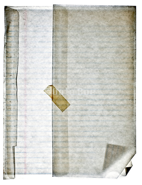 lined notepad paper in translucent envelope