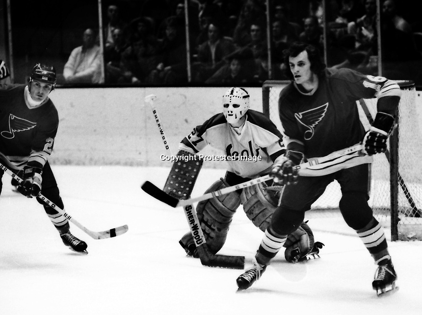 Seals vs St.Louis Blues 1972, goalie Gilles Meloche, Blues Brian Lavendar, and Christian Bordeleau .( photo by Ron Riesterer)