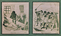 Slaves in shackles, 1843, (left), and slaves driven to the coast bound together by their necks, 1843, (right), by Eugene Ferdinand Buttura, 1812-52, and Moynet, facsimile of an original in the Musee du Quai Branly, in the Musee d'Aquitaine, Cours Pasteur, Bordeaux, Aquitaine, France. Picture by Manuel Cohen