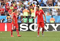 FUSSBALL WM 2014                ACHTELFINALE Argentinien - Schweiz                  01.07.2014 Xherdan Shaqiri und Haris Seferovic (v.l., beide Schweiz) verlassen nach dem Abpfiff den Platz