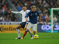 Jermaine Jones of team USA and Jeremy Menez of France fight for the ball during the friendly match France against USA at the Stade de France in Paris, France on November 11th, 2011.