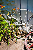 Long Island, New York. West Hampton - old wagon wheels.