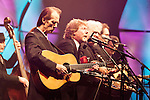 September 26, 2013. Raleigh, North Carolina.<br />  After being inducted the International Bluegrass Music Hall of Fame, Tony Rice, left, played a short set with bluegrass legends such as Sam Bush, Ricky Skaggs and Jerry Douglas.<br />  Bluegrass guitar legend Tony Rice was inducted into the International Bluegrass Music Hall of Fame during the International Bluegrass Music Awards, held in Memorial Hall at the Duke Energy Center for the Performing Arts.
