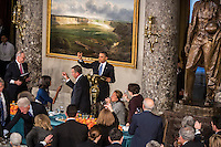 President Barack Obama raises his glass after speaking at the Inaugural Luncheon in Statuary Hall at the U.S. Capitol on Monday, January 21, 2013 in Washington, DC.