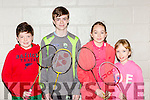 Eddie Healy Listowel, sean O'mahony Listowel, Grainne Bradley and Eilis Enright Castleisland at the juvenile badminton championships in Killarney on Sunday