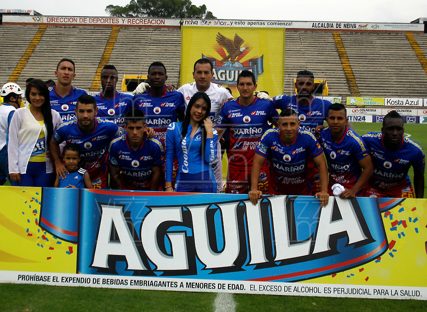 NEIVA - COLOMBIA -13 - 03 - 2016: Los jugadores de Deportivo Pasto, posan para una foto durante partido entre Atletico Huila y Deportivo Pasto, por la fecha 9 de la Liga Aguila, I 2016 en el estadio Guillermo Plazas Alcid de Neiva. / The players of Deportivo Pasto, pose for a photo during match between Atletico Huila and Deportivo Pasto, for the date 9 of the Liga Aguila I 2016 at the Guillermo Plazas Alcid Stadium in Neiva city. Photo: VizzorImage  / Sergio Reyes / Cont.