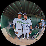 31 July 2016: Vermont Lake Monsters Jhonny Rodriguez (left) and Luis Barrera pose for a photo in the dugout prior to a Single-A minor league baseball game between the Connecticut Tigers and the Vermont Lake Monsters at Centennial Field in Burlington, Vermont. The Lake Monsters edged out the Tigers 4-3 in NY Penn League action.  Mandatory Credit: Ed Wolfstein Photo *** RAW (NEF) Image File Available ***