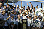 05 December 2004: Notre Dame players pose with the championship trophy. Notre Dame defeated UCLA 4-3 on penalty kicks after the game ended in a 1-1 overtime tie at SAS Stadium in Cary, NC in the championship match in the 2004 NCAA Division I Women's College Cup..