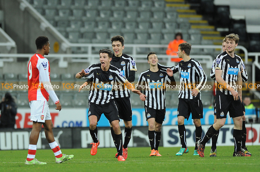 Dan Barlaser of Newcastle United celebrates scoring the equaliser - Newcastle United Under-21 vs Arsenal Under-21 - Barclays Under-21 Premier League Football at St James Park, Newcastle United FC - 09/02/15 - MANDATORY CREDIT: Steven White/TGSPHOTO - Self billing applies where appropriate - contact@tgsphoto.co.uk - NO UNPAID USE
