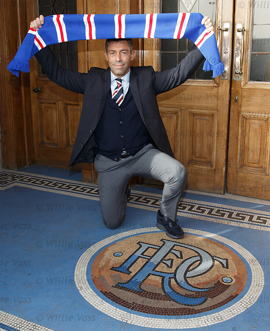 Pedro Caixinha at Ibrox on his first day on the job as Rangers manager