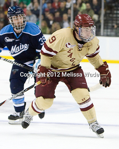 Barry Almeida (BC - 9) - The Boston College Eagles defeated the University of Maine Black Bears 4-1 to win the 2012 Hockey East championship on Saturday, March 17, 2012, at TD Garden in Boston, Massachusetts.
