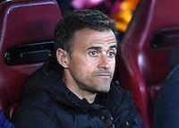 FUSSBALL CHAMPIONS LEAGUE  SAISON 2015/2016 VIERTELFINAL RUECKSPIEL Atletico Madrid - FC Barcelona       13.04.2016 Trainer Luis Enrique (Barca) nachdenklich