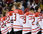 Tyler Ennis (Canada - 22), Keith Aulie (Canada - 32), Tyler Myers (Canada - 3), Evander Kane (Canada - 29), Brett Sonne (Canada - 12) - Team Canada defeated the Czech Republic 8-1 on the evening of Friday, December 26, 2008, at Scotiabank Place in Kanata (Ottawa), Ontario during the 2009 World Juniors U20 Championship.