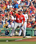 9 June 2012: Washington Nationals first baseman Adam LaRoche in action against the Boston Red Sox at Fenway Park in Boston, MA. The Nationals defeated the Red Sox 4-2 in the second game of their 3-game series. Mandatory Credit: Ed Wolfstein Photo