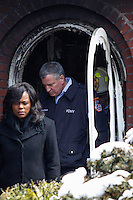 NYC mayor Bill de Blasio exits the house where at least 7 children died during the fire in Brooklyn, New York. 21.03.2015. Eduardo Munoz Alvarez/VIEWpress.