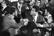 "Jan 1971 Madison Square Garden, NY Signature of the contract of the ""match of the Century"" between Muhammad Ali and Joe Frazier."