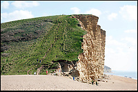 BNPS.co.uk (01202 558833)<br /> Pic: PeterWillows/BNPS<br /> <br /> The iconic cliff top from Broadchurch<br /> <br /> While the whole country has been enjoying the final series of TV drama Broadchurch, no one is relishing the show more than the businesses of West Bay.<br /> <br /> The 'Broadchurch effect' has sent visitor numbers to the sleepy Dorset town, where the show is set, skyrocketing in the past four years.<br /> <br /> And the latest, and final, series, which finishes on Monday, has only fanned the flames, with a host of new businesses benefiting from their association with the show.<br /> <br /> Tourism organisation Visit Dorset has experienced an increase of 133 per cent in enquries and bookings on its website.<br /> <br /> Local businesses which feature on screen have also seen their profits soar thanks to 'Broadies' who stop for a selfie before calling in to make a purchase.<br /> <br /> One premises in particular has been the Washingpool Farm Shop, which is Flintcombe Farm Shop run by Lenny Henry's character Ed Burnett in Broadchurch.
