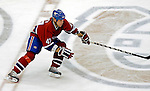 6 February 2007: Montreal Canadiens right wing forward Aaron Downey skates across center ice during a game against the Carolina Hurricanes at the Bell Centre in Montreal, Canada. The Hurricanes went on to defeat the Canadiens 2-1.....Mandatory Photo Credit: Ed Wolfstein *** Editorial Sales through Icon Sports Media *** www.iconsportsmedia.com