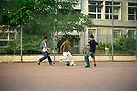 [English]  During daytime, Afghans in Paris meet in Villemin park. Football is the main activity, often with French boys of the neighborhood.<br /> <br /> [Francais]  La communaute afghane a Paris se retrouve la journee au square Villemin pour discuter ou participer aux parties de foot amicales. Les jeunes francais du quartier se joignent regulierement a eux.