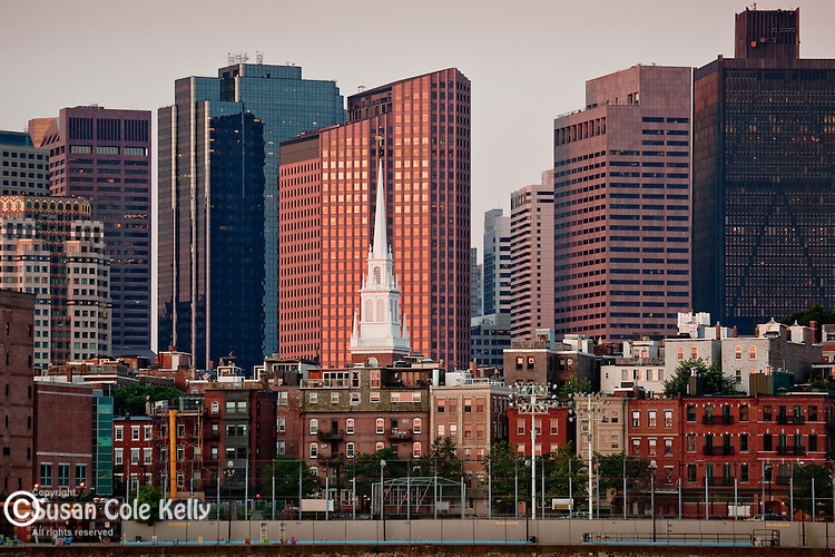 The Old North Church steeple and the Financial District skyline, Boston, MA