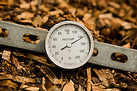 The thirty-day compost piles, covered with wood chips, reach an internal temperature of approximately 145ºF as the organic matter decomposes.