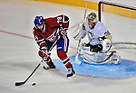 21 September 2009: Montreal Canadiens' right wing forward Eric Neilson is unable to get a clear shot on goaltender John Curry during a pre-season game against the Pittsburgh Penguins at the Bell Centre in Montreal, Quebec, Canada. The Canadiens edged out the defending Stanley Cup Champions 4-3. Mandatory Credit: Ed Wolfstein Photo