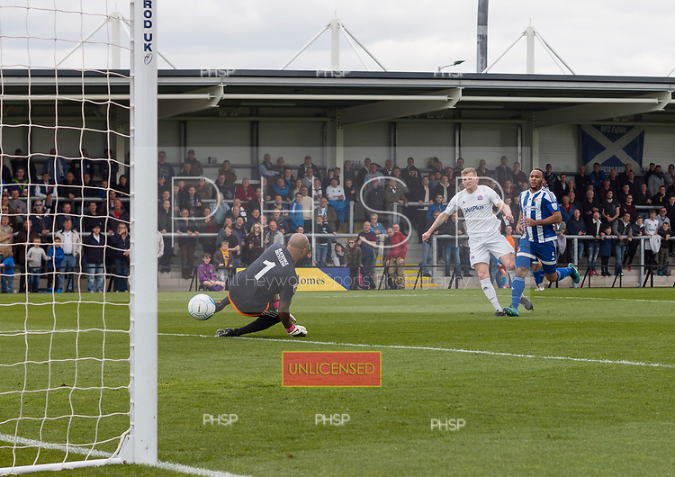 29/04/2017 National League North AFC Fylde v Worcester City<br /> <br /> Danny Rowe scores his 50th goal of the season