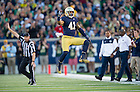Sept. 6, 2014; Irish cornerback Matthias Farley celebrates after making a tackle during the first quarter against  Michigan. (Photo by Barbara Johnston/ University of Notre Dame)