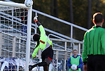 07 November 2010: Maryland goalkeeper Yewande Balogun makes a save, pushing the ball off of the crossbar. The Wake Forest University Demon Deacons defeated the University of Maryland Terrapins 3-1 on penalty kicks after the game ended in a 1-1 tie after overtime at WakeMed Stadium in Cary, North Carolina in the ACC Women's Soccer Tournament championship game.