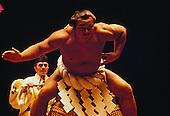 Yokozuna Chiyonofuji performing sumo wrestling ring-entering ceremony in Hawaii in June 1984