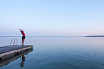 Runner stretching by Clear Lake,<br />