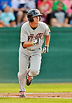 19 July 2012: Tri-City ValleyCats infielder Jesse Wierzbicki in action against the Vermont Lake Monsters at Centennial Field in Burlington, Vermont. The ValleyCats defeated the Lake Monsters 6-3 in NY Penn League action. Mandatory Credit: Ed Wolfstein Photo