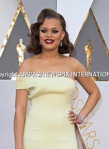 28.02.2016; Hollywood, California: 88th OSCARS - ANDRA DAY<br /> attend the 88th Annual Academy Awards at the Dolby Theatre&reg; at Hollywood &amp; Highland Center&reg;, Los Angeles.<br /> Mandatory Photo Credit: &copy;Ampas/Newspix International<br /> <br /> PHOTO CREDIT MANDATORY!!: NEWSPIX INTERNATIONAL(Failure to credit will incur a surcharge of 100% of reproduction fees)<br /> <br /> IMMEDIATE CONFIRMATION OF USAGE REQUIRED:<br /> Newspix International, 31 Chinnery Hill, Bishop's Stortford, ENGLAND CM23 3PS<br /> Tel:+441279 324672  ; Fax: +441279656877<br /> Mobile:  0777568 1153<br /> e-mail: info@newspixinternational.co.uk<br /> All Fees To: Newspix International
