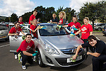 Welsh Water staff raising money for the Princes Trust with a waterless car wash.07.09.12.©Steve Pope