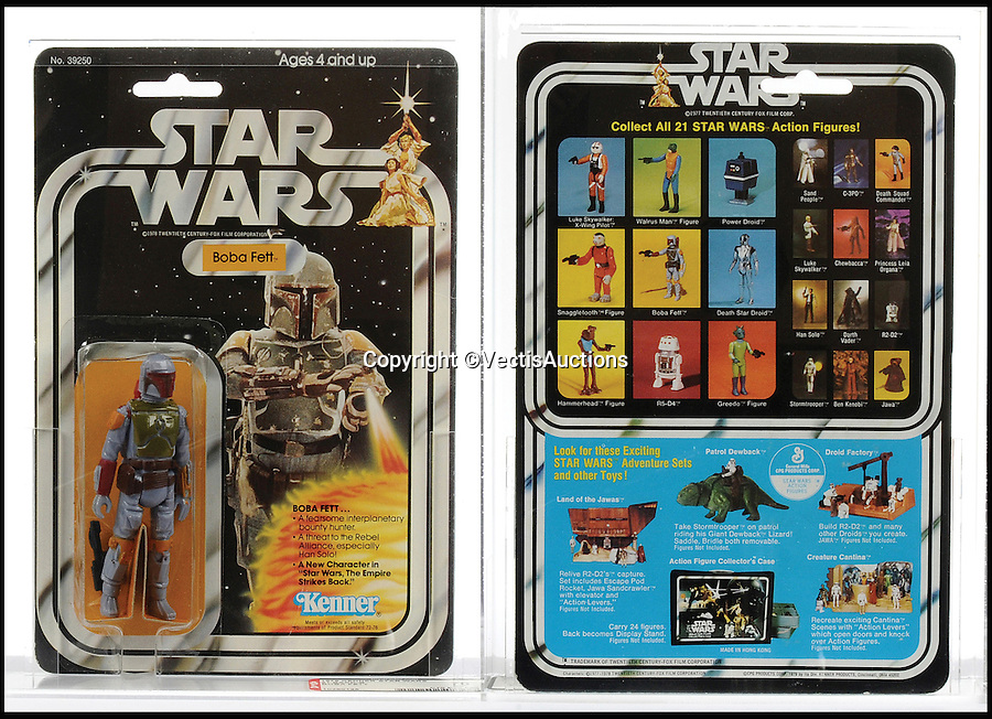 BNPS.co.uk (01202 558833)<br /> Pic: Vectis/BNPS<br /> <br /> Kenner Star Wars Boba Fett 3 3/4&quot; Vintage Figure sold for &pound;1,920.<br /> <br /> A tiny plastic rocket from a Star Wars action figure has sold for almost &pound;2,000 as part of a huge &pound;160,000 sale of rare toys relating to the film franchise.<br /> <br /> The red missile measures just 28mm long and was attached to the back of a prototype figure of bounty hunter Boba Fett.<br /> <br /> A complete prototype Boba Fett can sell for &pound;13,000 but thanks to a letter of authentication and grading by the Action Figure Authority (AFA), the small rocket made &pound;1,920 by itself at auction.<br /> <br /> It was one of almost 700 Star Wars lots that sold for &pound;160,000, with many toys that originally sold for &pound;1.50 achieving four-figure sums.<br /> <br /> With the release of Star Wars:The Force Awakens imminent, interest in memorabilia from the franchise has never been higher.