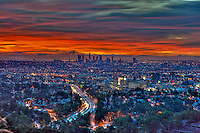 Los Angeles, CA, Skyline, Fiery, Sunrise, Sunset, Traffic Streaking on Freeway, HDR