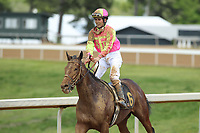 HOT SPRINGS, AR - APRIL 15: Moon Gate Warrior #6, with jockey Luis Quinonez aboard after the 5th race at Oaklawn Park on April 15, 2017 in Hot Springs, Arkansas. (Photo by Justin Manning/Eclipse Sportswire/Getty Images)