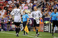 MLS All-Stars goalkeeper Kasey Keller (18) is subbed in for goalkeeper Tally Hall (22). Manchester United defeated the MLS All-Stars 4-0 during the MLS ALL-Star game at Red Bull Arena in Harrison, NJ, on July 27, 2011.