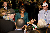 "Washington, DC - January 19, 2009 -- Michelle Obama, wife of U.S. President -elect Barack Obama and Jill Biden, wife of Vice President-elect Joe Biden take part in  ""Operation Gratitude"" a public service  at RFK Stadium in Washington, D.C., Monday, January 19, 2009..Credit: Mannie Garcia - Pool via CNP"