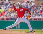 11 March 2013: Washington Nationals pitcher Rafael Soriano on the mound during a Spring Training game against the Atlanta Braves at Space Coast Stadium in Viera, Florida. The Braves defeated the Nationals 7-2 in Grapefruit League play. Mandatory Credit: Ed Wolfstein Photo *** RAW (NEF) Image File Available ***