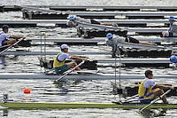 Hamilton, NEW ZEALAND.  M1X Repechage, AUS M1X: Duncan FREE and SWE M1X; Lassi KARONNEN.  2010 World Rowing Championships on Lake Karapiro, Tuesday - 02.11.2010, [Mandatory Credit Peter Spurrier:Intersport Images].