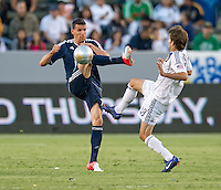 CARSON, CA - June 23, 2012: Vancouver Whitecaps forward Sebastian Le Toux (7) during the LA Galaxy vs Vancouver Whitecaps FC match at the Home Depot Center in Carson, California. Final score LA Galaxy 3, Vancouver Whitecaps FC 0.